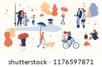 happy people spend leisure time ... | Shutterstock .eps vector #1176597871