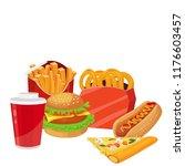 fast food  food set  vector | Shutterstock .eps vector #1176603457