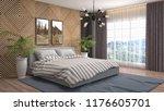 bedroom interior. 3d... | Shutterstock . vector #1176605701
