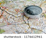 compass on orienteering map | Shutterstock . vector #1176612961