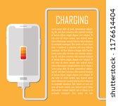 mobile charging vector flat... | Shutterstock .eps vector #1176614404