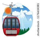 cabin ski cableway emblem... | Shutterstock . vector #1176634381
