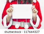 Girl In Santa Holding Banner....