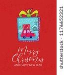 merry christmas poster. doodle... | Shutterstock .eps vector #1176652321