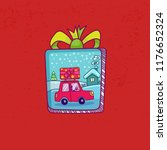 merry christmas card. doodle... | Shutterstock .eps vector #1176652324
