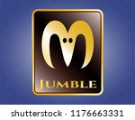 gold badge or emblem with goat ...   Shutterstock .eps vector #1176663331