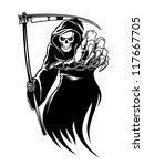 black death monster with scythe ... | Shutterstock .eps vector #117667705