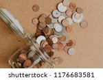 coins going out from a dropped... | Shutterstock . vector #1176683581