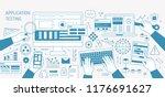 horizontal banner with hands... | Shutterstock .eps vector #1176691627
