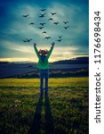 free happy woman enjoying...   Shutterstock . vector #1176698434