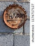 informative sign on rusty paint ...   Shutterstock . vector #1176717127
