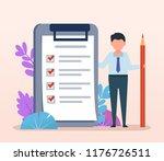 cute small businessman stand... | Shutterstock .eps vector #1176726511