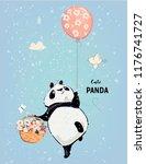 little panda with balloon | Shutterstock .eps vector #1176741727
