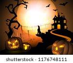 halloween full moon night... | Shutterstock .eps vector #1176748111