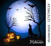 halloween full moon night... | Shutterstock .eps vector #1176748114