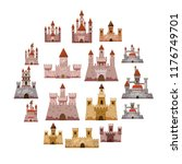 castle tower icons set. cartoon ... | Shutterstock . vector #1176749701