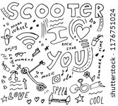 scooter doodle concept in hand... | Shutterstock .eps vector #1176751024