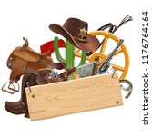 vector cowboy concept with... | Shutterstock .eps vector #1176764164