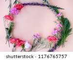 minimal flat lay frame with... | Shutterstock . vector #1176765757