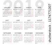 simple calendar for 2019 year.... | Shutterstock .eps vector #1176771307