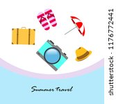 summer travel suitcase hat flip ... | Shutterstock .eps vector #1176772441