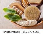 brushes for dry body massage | Shutterstock . vector #1176775651