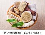 brushes for dry body massage | Shutterstock . vector #1176775654