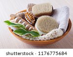 brushes for dry body massage | Shutterstock . vector #1176775684