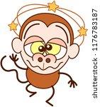 cute brown monkey in minimalist ... | Shutterstock .eps vector #1176783187