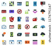 colored vector icon set   phone ... | Shutterstock .eps vector #1176791167