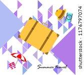 summer travel suitcase hat flip ...   Shutterstock .eps vector #1176797074