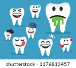 set cute tooth emoji emoticons | Shutterstock .eps vector #1176813457