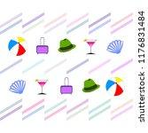 summer travel suitcase cocktail ... | Shutterstock .eps vector #1176831484