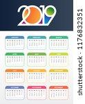 calendar 2019 vector. colorful... | Shutterstock .eps vector #1176832351