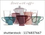 watercolor vector set of coffee....   Shutterstock .eps vector #1176837667