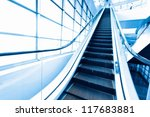 blue moving escalator in the... | Shutterstock . vector #117683881