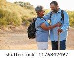 senior couple wearing backpacks ... | Shutterstock . vector #1176842497