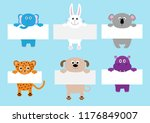 jaguar cat  elephant  rabbit ... | Shutterstock .eps vector #1176849007