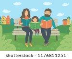 family reading books on the... | Shutterstock .eps vector #1176851251
