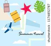 summer travel suitcase aircraft ... | Shutterstock .eps vector #1176852787
