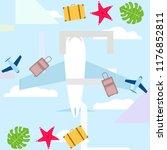 summer travel suitcase aircraft ... | Shutterstock .eps vector #1176852811