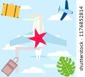 summer travel suitcase aircraft ... | Shutterstock .eps vector #1176852814