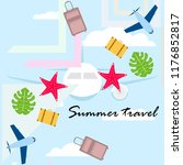 summer travel suitcase aircraft ... | Shutterstock .eps vector #1176852817