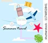 summer travel suitcase aircraft ... | Shutterstock .eps vector #1176852841