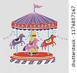 carousel  roundabout or merry... | Shutterstock .eps vector #1176857167