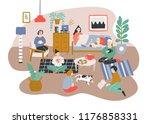 group of men and women sitting...   Shutterstock .eps vector #1176858331