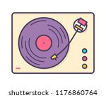 analog music player  recorder... | Shutterstock .eps vector #1176860764