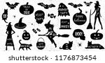 halloween icons set. black and... | Shutterstock .eps vector #1176873454
