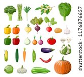 big vegetable isolated icon set.... | Shutterstock .eps vector #1176876637