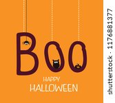 hanging word boo with spider ...   Shutterstock .eps vector #1176881377